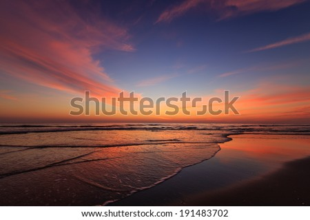 Sunrise on the beach of the Outer Banks, North Carolina. - stock photo