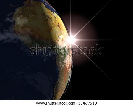 sunrise on the earth planet