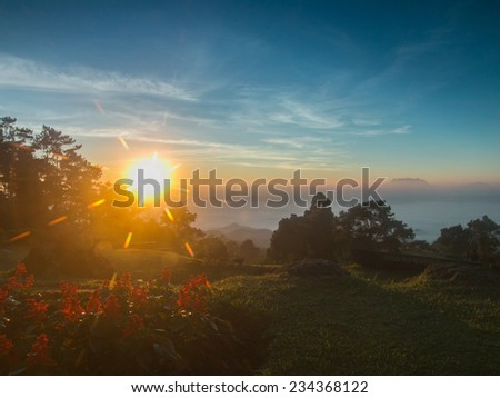 Sunrise on the high mountain in morning at Huai Nam Dang National Park,Thailand - stock photo