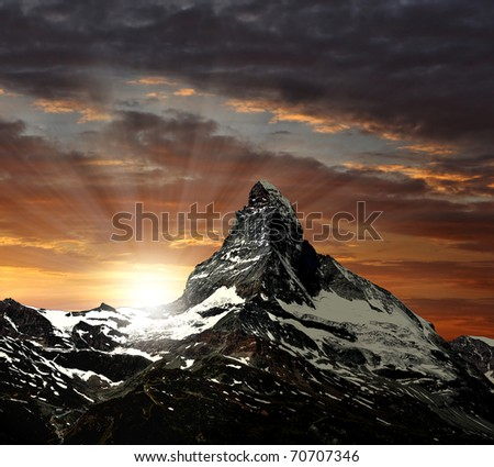sunrise on the Matterhorn - stock photo
