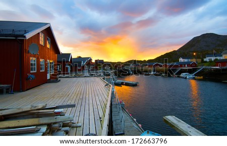Sunrise on the Norwegian island - stock photo