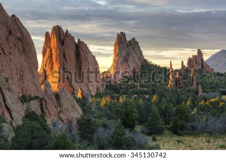 Sunrise on the red rocks formations of the Garden of the Gods in Colorado SPring, Colorado - stock photo