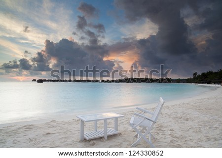 sunrise on tropical beach, malediven - stock photo