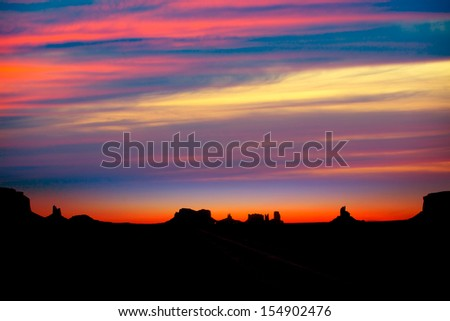 Sunrise on US 163 Scenic road to Monument Valley Park Utah - stock photo