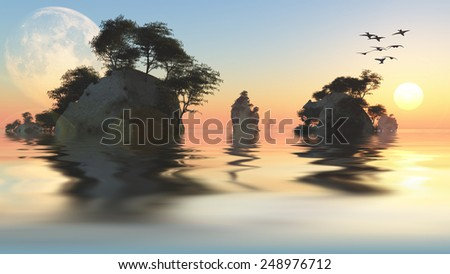 Sunrise or set with moon and rocky islets - stock photo