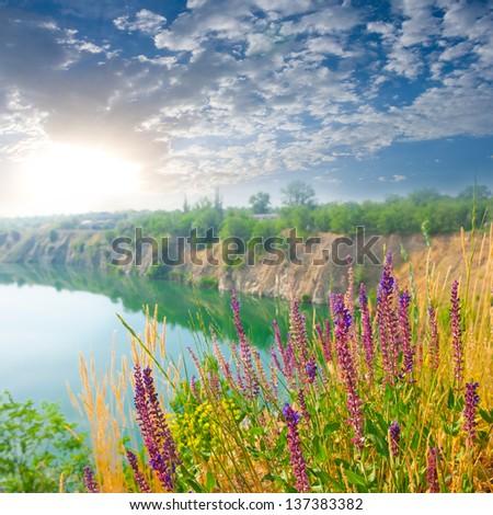 sunrise over a lake - stock photo