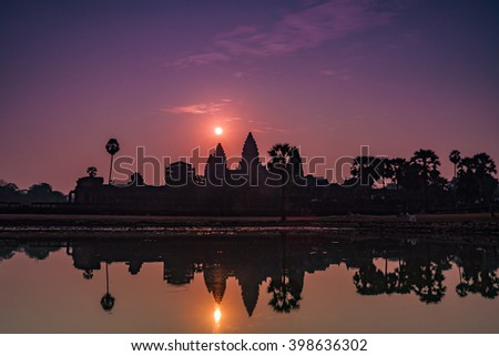 Sunrise over Angkor Wat in Siem Reap, Cambodia.