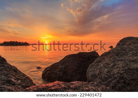Sunrise over Azov sea