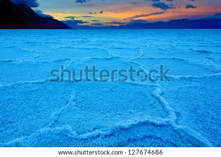 Sunrise over Badwater basin, Death Valley National Park, California - stock photo