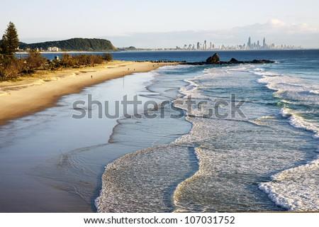 Sunrise over beach, Currumbin beach, Gold Coast, Australia - stock photo