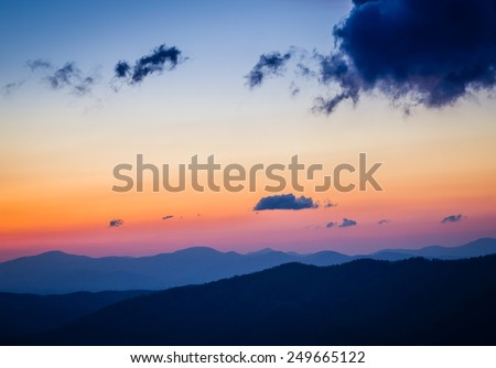 Sunrise over Blue Ridge Parkway in Pisgah Forest in North Carolina - stock photo