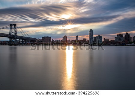 Sunrise over Brooklyn and the East River, seen from Manhattan - stock photo