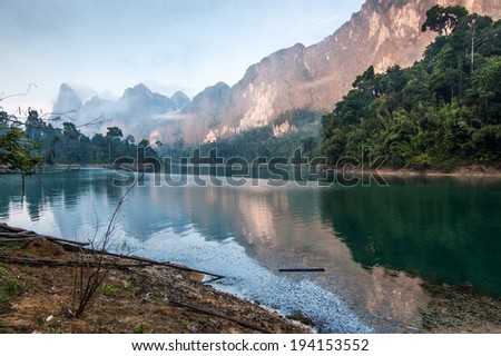 Sunrise over Cheow Lan Lake, Khao Sok National Park in southern Thailand
