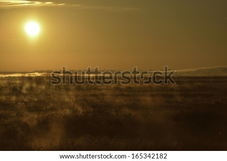 Sunrise over cold Payne's Prairie swamplands, Gainesville, Florida, USA - stock photo