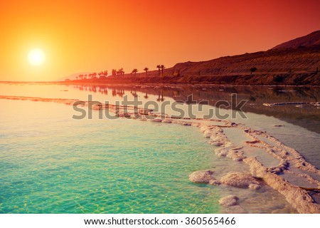 Sunrise over Dead Sea.  - stock photo