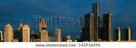 Sunrise over Detroit, MI - stock photo