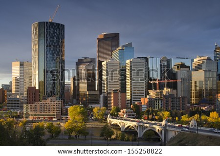 Sunrise over downtown Calgary. - stock photo