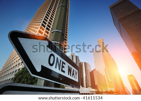 Sunrise over downtown Los Angeles, California, USA - stock photo