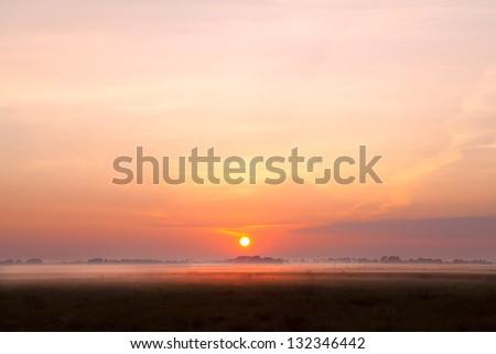 sunrise over fog on pasture in summer - stock photo