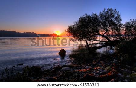 sunrise over hamilton, ontario, canada - stock photo