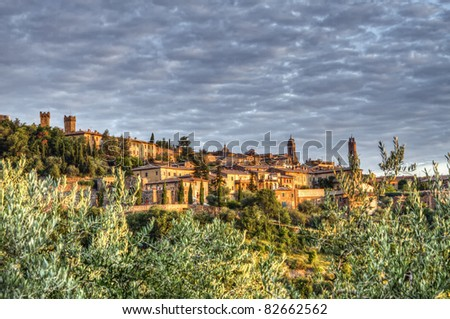 Sunrise over  Medieval town of Montalcino (UNESCO World Heritage Site), Tuscany, Italy - stock photo
