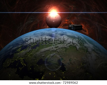 Sunrise over Moon with cargo ship over Earth in red system - stock photo