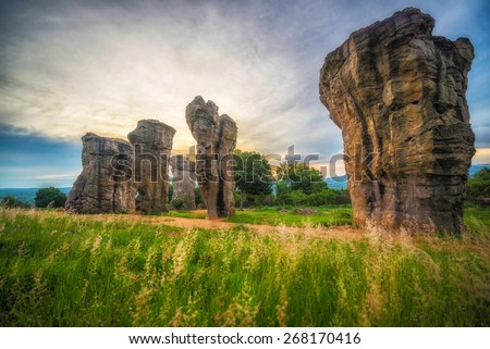 Sunrise over Mor hin khao , stonehenge of Thailand - stock photo