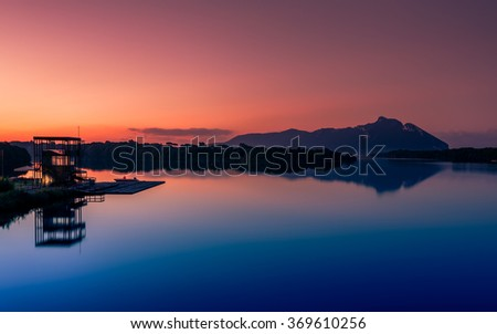 Sunrise over Mount (Promontorio del) Circeo, Latina, Lazio, Italy Monte Circeo or Cape Circeo is a mountain remaining as a promontory that marks the southwestern limit of the former Pontine Marshes. - stock photo