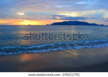 Sunrise over Nha trang bay in Vietnam - stock photo