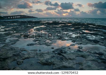 Sunrise over ocean in Florida Keys - stock photo