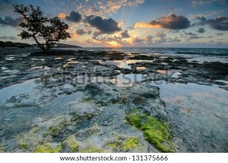 Sunrise over ocean in Florida Keys. View to the Old Bahia Honda Railroad bridge. - stock photo
