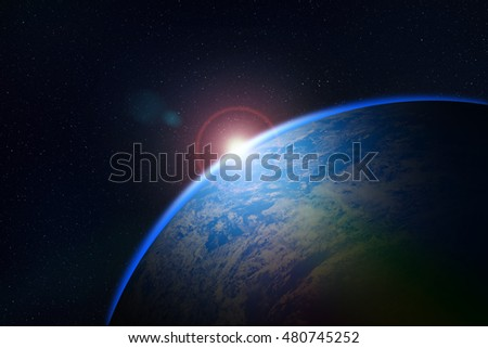 sunrise over planet in deep space. Elements of this image furnished by NASA