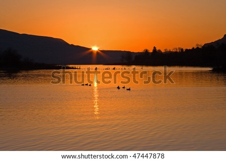 Sunrise over the Columbia River. - stock photo