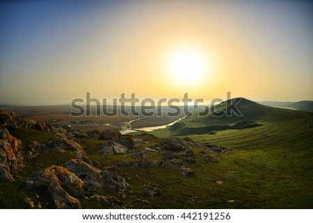 sunrise over the lake in summer - stock photo