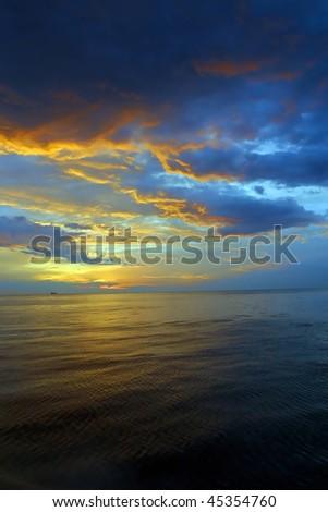 Sunrise over the Mediterranean ocean Malta. - stock photo