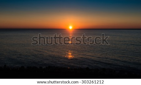 Sunrise over the North Pacific. - stock photo