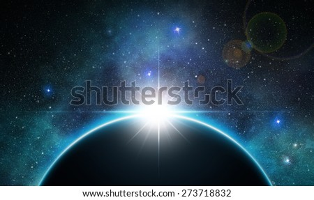 sunrise over the planet in outer space - stock photo