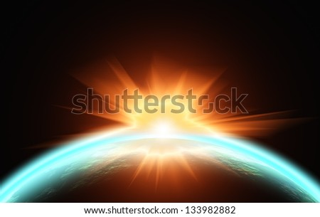 Sunrise over the planet. View from space. illustration