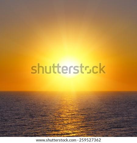 sunrise over the sea - stock photo
