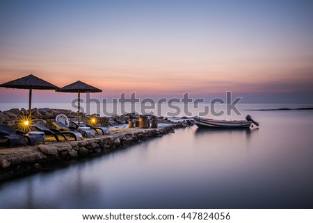 Sunrise over the sea at Zakythos. Ionian Sea. Long exposure photography - stock photo