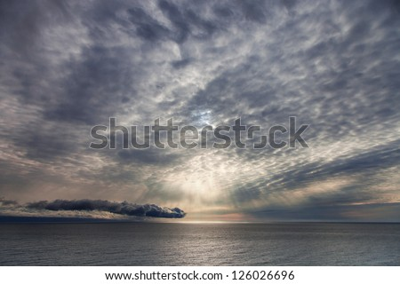 Sunrise over the sea, marine landscape - stock photo