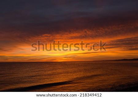Sunrise over the Sea of Cortez, Los Barriles, MExico - stock photo