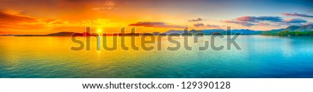 stock photo sunrise over the sea panorama 129390128 - Каталог — Фотообои «Закаты, рассветы»
