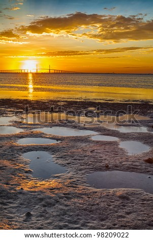 Sunrise over the sky way bridge in Tampa, Florida - stock photo