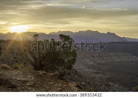 Sunrise over the skyline of Zion National Park in Utah as seen from Smith's Mesa - stock photo