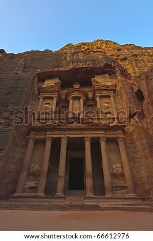 Sunrise over The Treasury (El Khazneh). Petra, Jordan - stock photo
