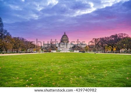 Sunrise over US Capitol in Washington, DC - stock photo