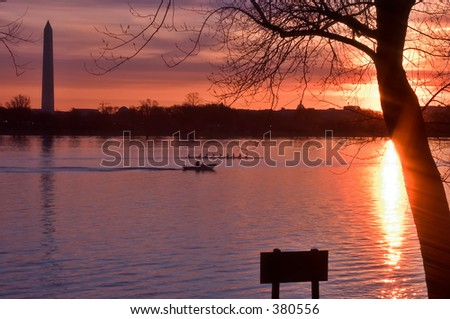 Sunrise over Washington, DC - stock photo