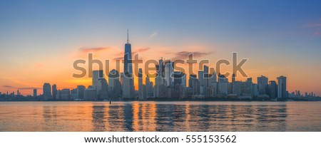 Sunrise panorama of New York City skyline from New Jersey