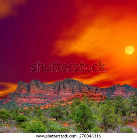 Sunrise Red Rock country mountains surrounding Sedona Arizona - stock photo